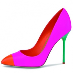 Shoespie Pointed Toe Slip-On Fluorescent Color Stiletto Heel