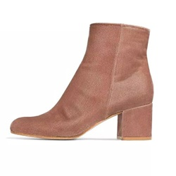 Shoespie Side Zipper Chunky Heel Short Floss Ankle Boot
