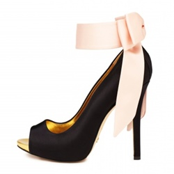 Shoespie Peep Toe Ribbon Bow Platform Stiletto Heel