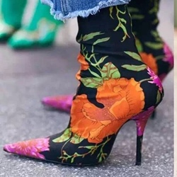Shoespie Pointed Toe Floral Print Slip-On Stiletto Heel Ankle Boot