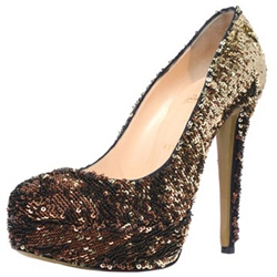 Shoespie Slip-On Gradient Sequin Platform Stiletto Heel