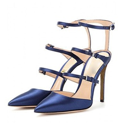Shoespie Ankle Strap Line-Style Buckle Stiletto Heel