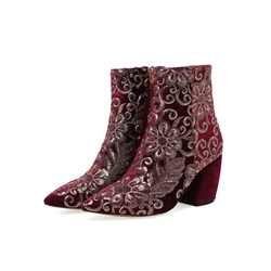 Shoespie Floral Sequin Embroidery Chunky Heel Side Zipper Ankle Boot