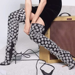 ShoespiePointed Toe Floral Appliques Lace-Up Stiletto Heel Knee High Boot