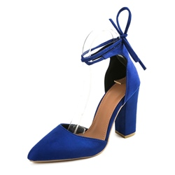 Shoespie Lace-Up Chunky Heel Pointed Toe Stiletto Heel
