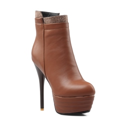 Shoespie Platform Side Zipper Stiletto Heel Ankle Boot
