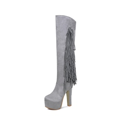 Shoespie Fringe Platform Chunky Heel Side Zipper Knee High Boot