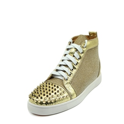 Shoespie Patchwork Color Block Rivet Sequin Lace-Up Sneaker
