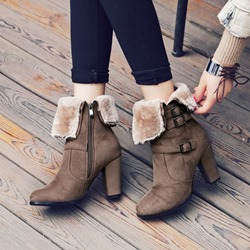 Shoespie Winter Chunky Heel Ankle Boots