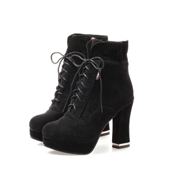 ShoespieChunky Heel Side Zipper Cross Strap Platform Ankle Boot