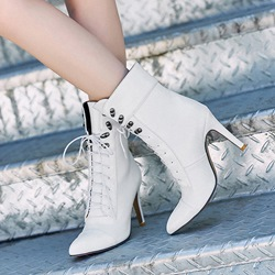 Shoespie Casual Lace-Up Front Stiletto Heel Ankle Boot