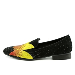 Shoespie Casual Floral Color Block Slip-On Rhinestone Men's Loafer