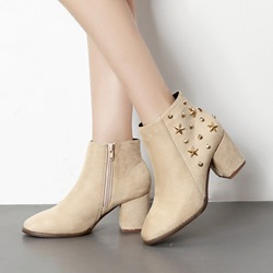 Rivet Chunky Heel Fashion Boots