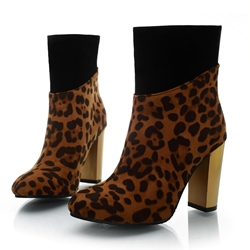 Shoespie Back Zip Chunky Heel Patchwork Leopard Ankle Boot