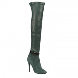 Shoespie Pointed Toe Buckle Side Zipper Stiletto Heel Knee High Boot