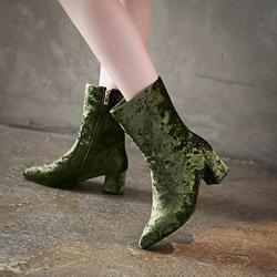 ShoespieSide Zipper Chunky Heel Short Floss Ankle Boot