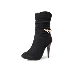 Shoespie Stiletto Heel Side Zipper Rhinestone Buckle Ankle Boot
