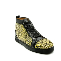 Shoespie Round Toe Color Block Rivet Serpentine Sneakers