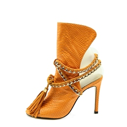 Shoespie Fringe Sequin Stiletto Heel Open Toe Lace-Up Front Ankle Boot