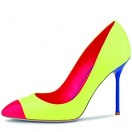 Shoespie Slip-On Candy Color Pointed Toe Color Block Stiletto Heel