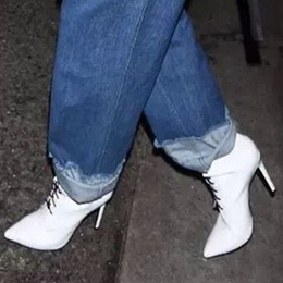 Shoespie Pointed Toe Stiletto Heel Lace-Up Front Ankle Boot