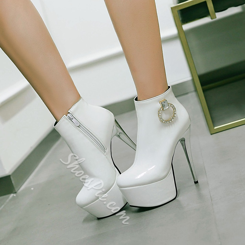 Shoespie Side Zipper Rhinestone Platform Stiletto Heel Ankle Boot