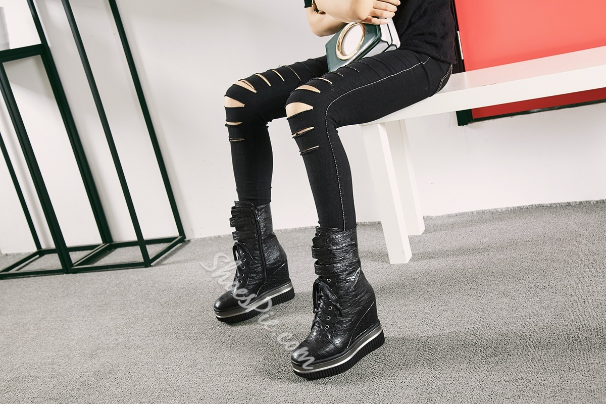 Shoespie Platform Hidden Elevator High Heel Boots