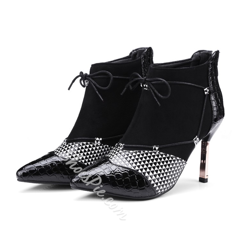 Shoespie Lace-Up Back Zip Stiletto Heel Color Block Ankle Boot