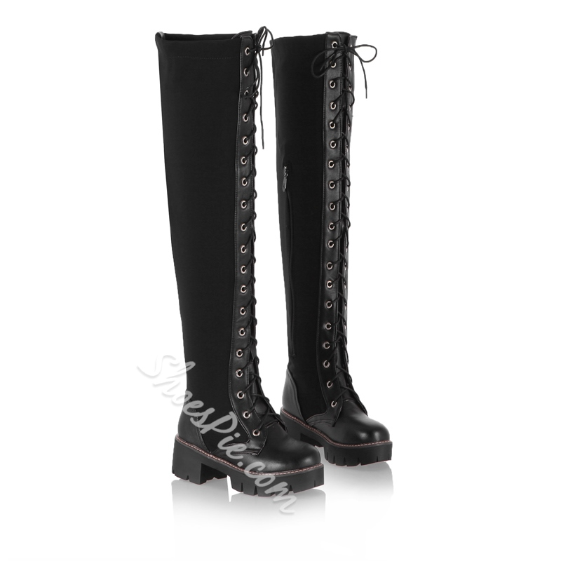 Shoespie Cross Strap Lace-up Knee High Boots