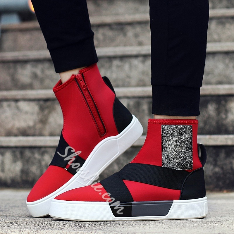 Shoespie Casual Zipper Color Block Sneaker Zipper Men's Boot