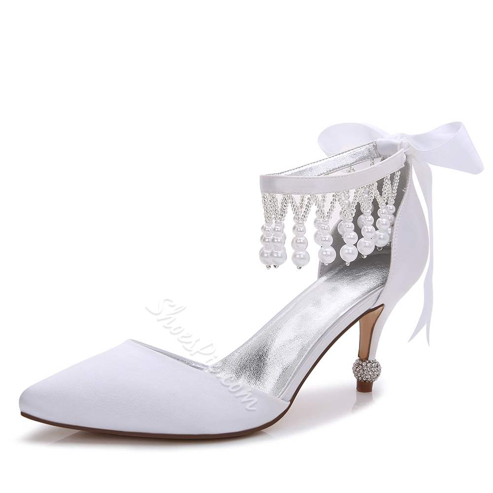 Bowknot Fringe Rhinestone Slip-On Pointed Toe Wedding Bridal Shoes