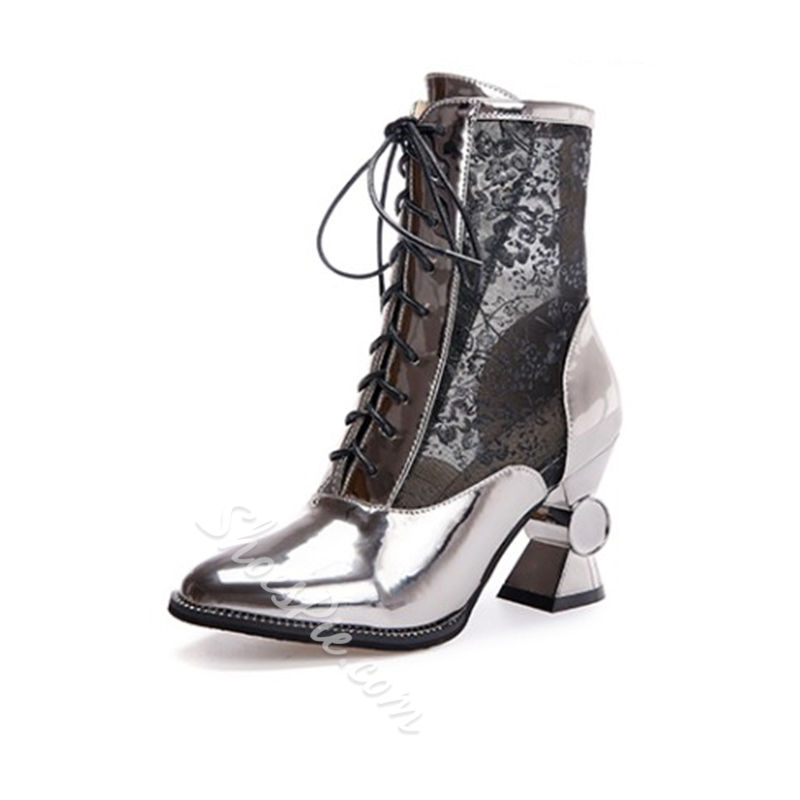 Shoespie Mesh Lace-Up Lace See-Through Shaped Heel Ankle Boot