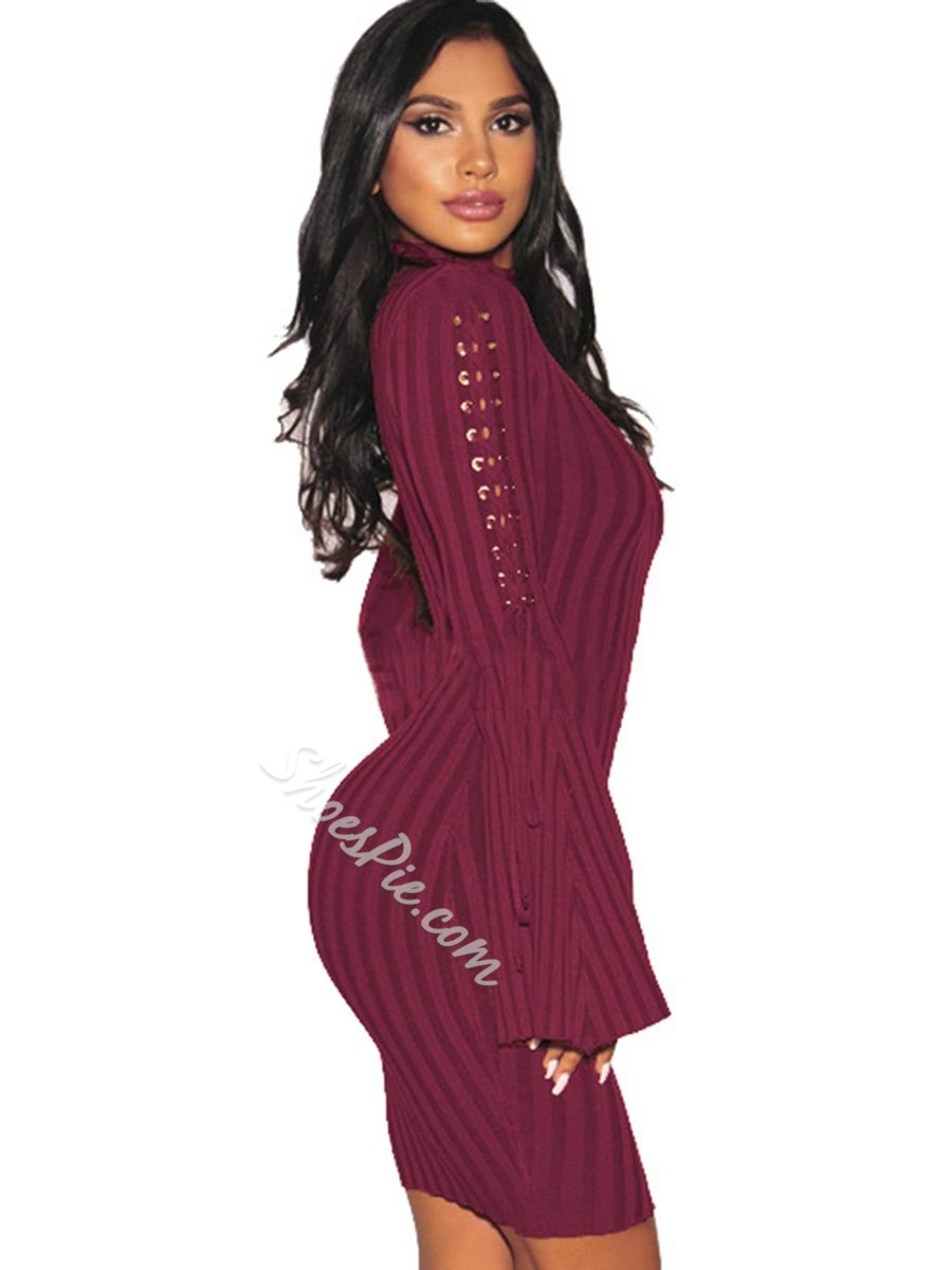 Shoespie Turtleneck Lace-Up Flare Sleeve Bodycon Dresses