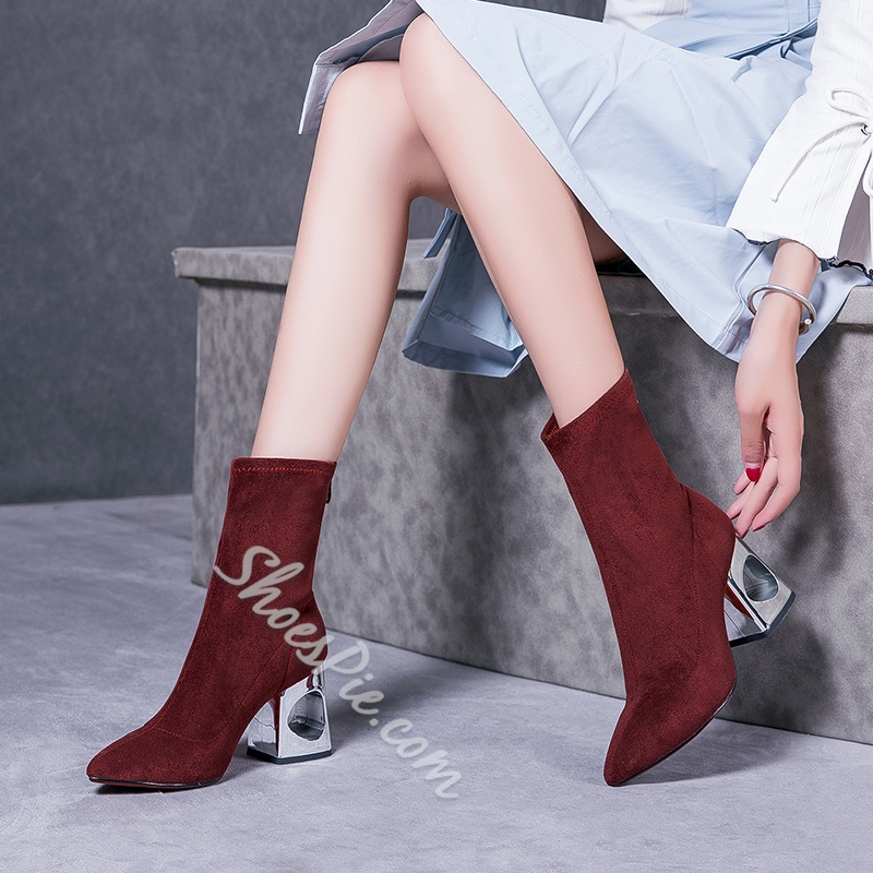 Shoespie Pointed Toe Short FlossBack Zip Chunky Heel Ankle Boot