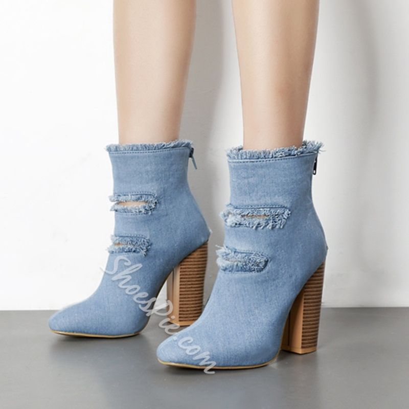 Shoespie Denim Chunky Heel Ankle Boots