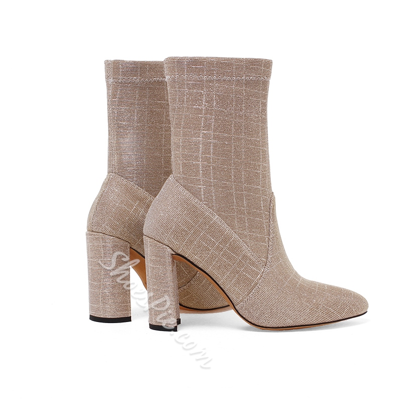 Shoespie Casual Pointed Toe Slip-On Chunky Heel Ankle Boot