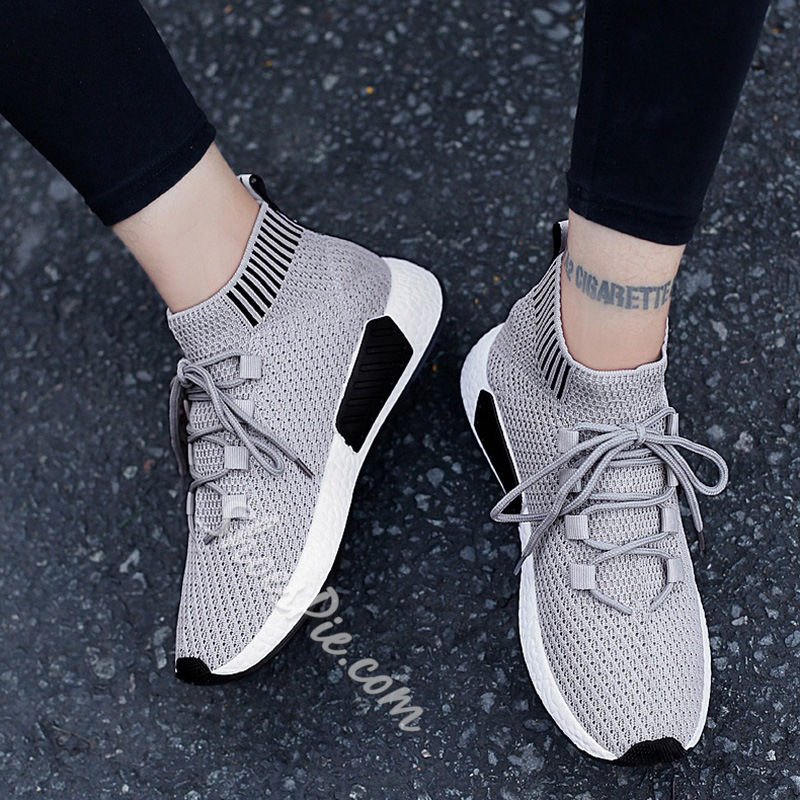 Shoespie Casual Stripe Lace-Up Sneaker