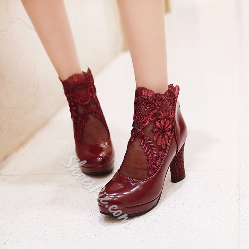 Shoespie Casual Lace Back Zip Chunky Heel Ankle Boot