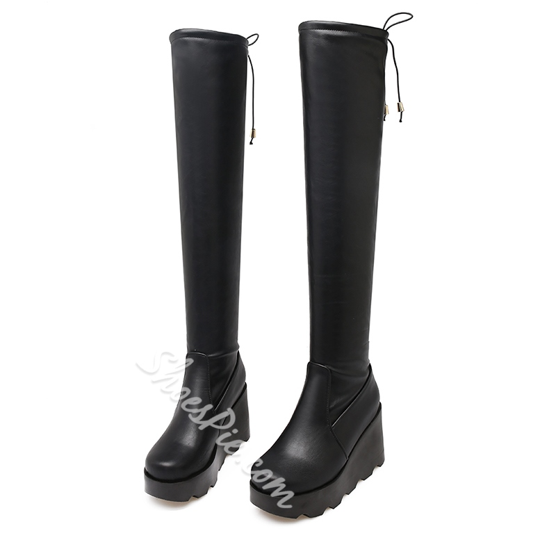 987ef317580b Shoespie Platform Wedge Heel Lace-Up Back Knee High Boot- Shoespie.com