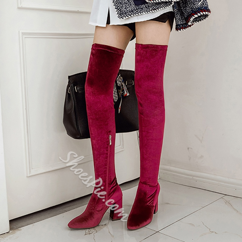 Shoespie Chunky Heel Velvet Side Zipper Knee High Boot