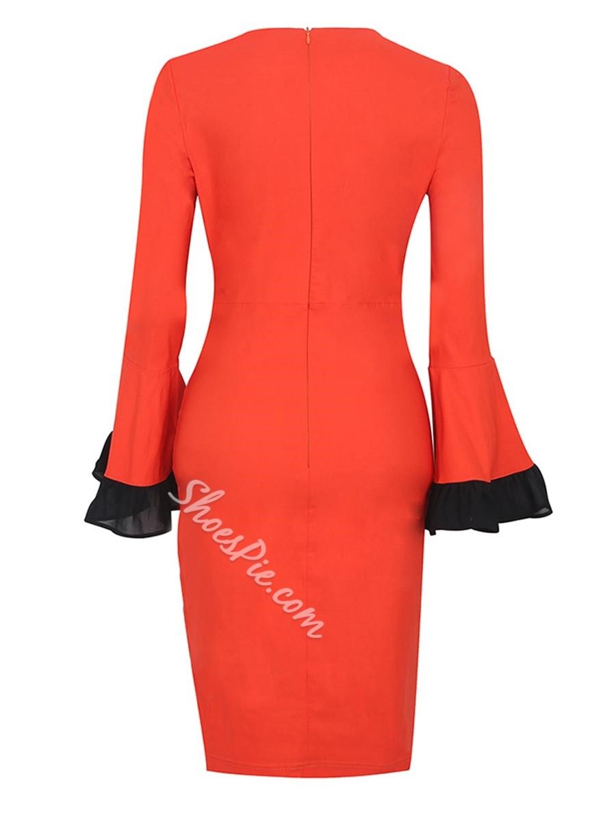 ShoespieRound Neck Flare Long Sleeve Bodycon Dress