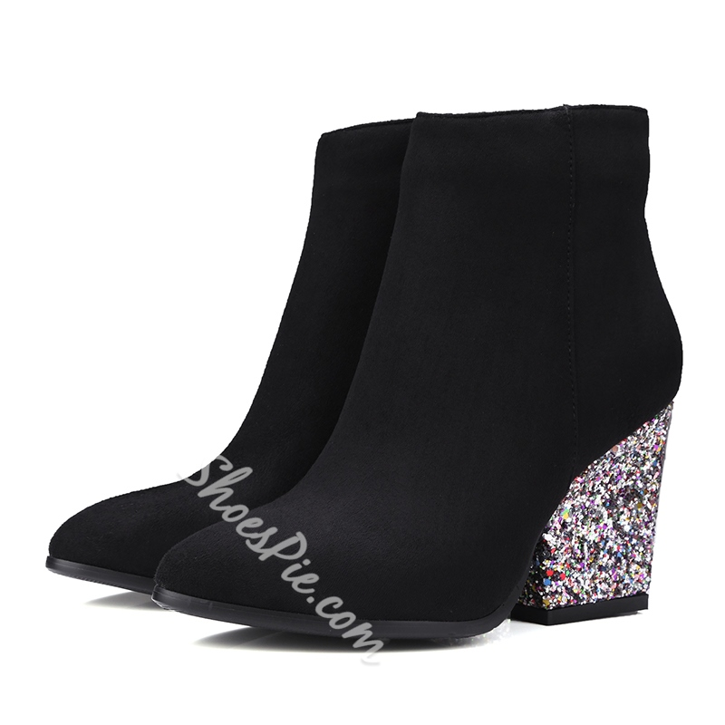 Shoespie Pointed Toe Sequin Chunky Heel Side Zipper Ankle Boot