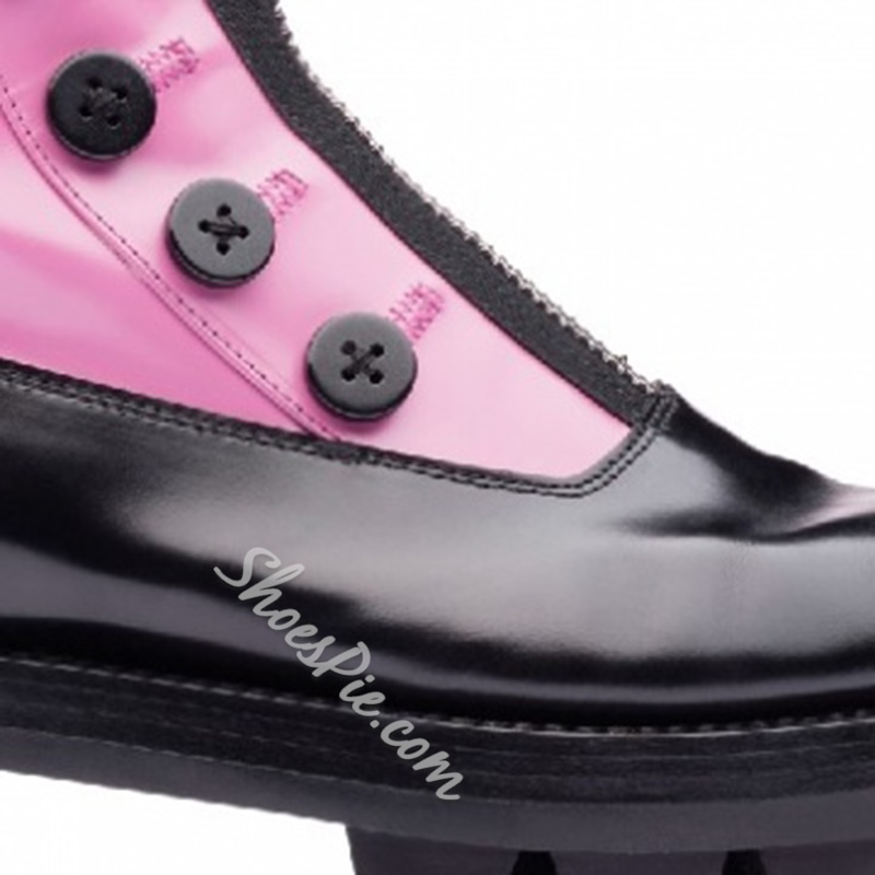 Shoespie Platform Button Front Zipper Block Heel Color Block Martin Boot
