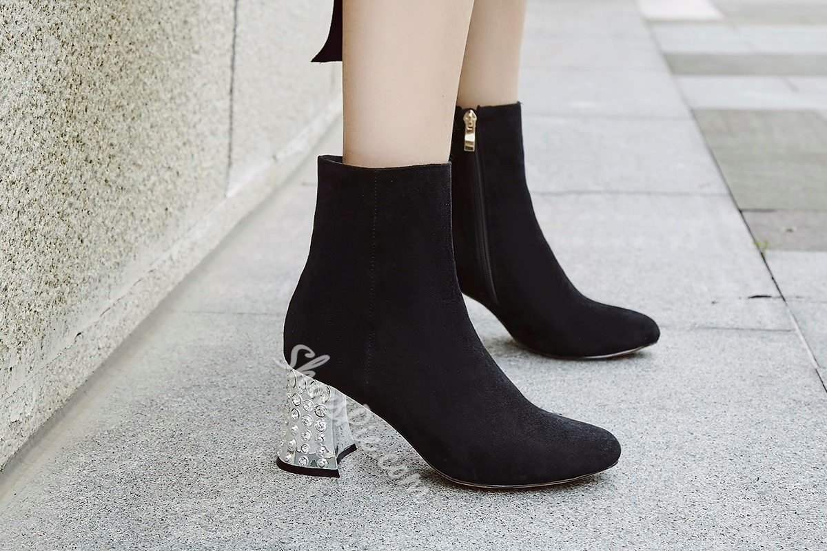 ShoespieChunky Heel Side Zipper Short Floss Ankle Boot