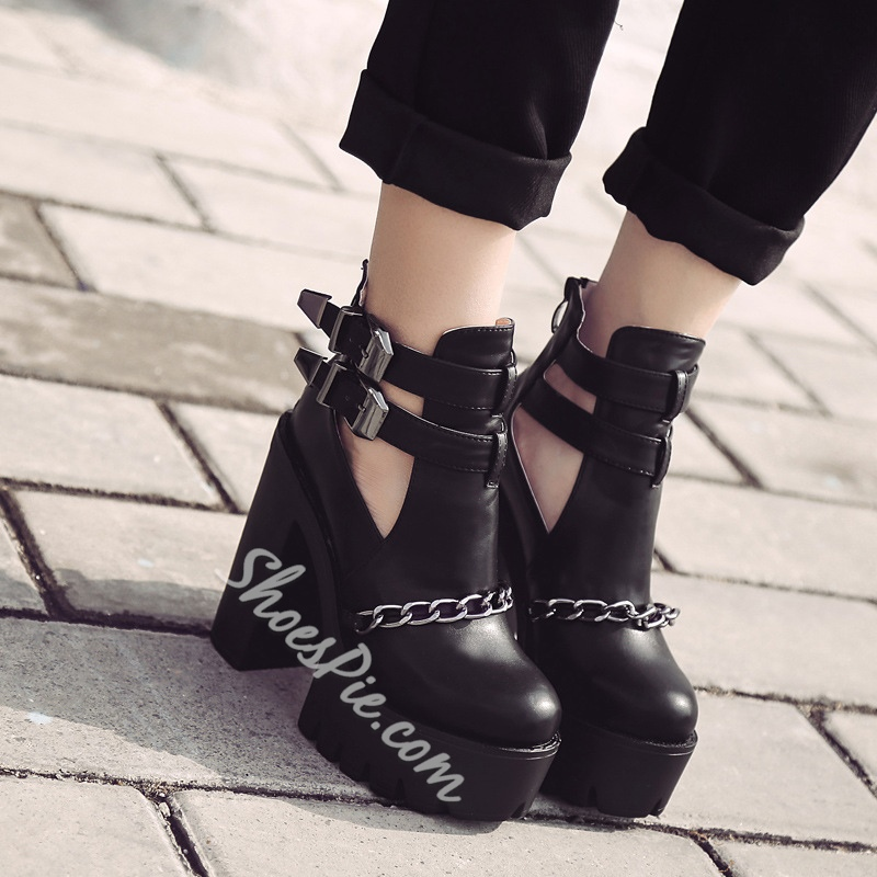Shoespie Hollow Chain Platform Buckle Ankle Boot