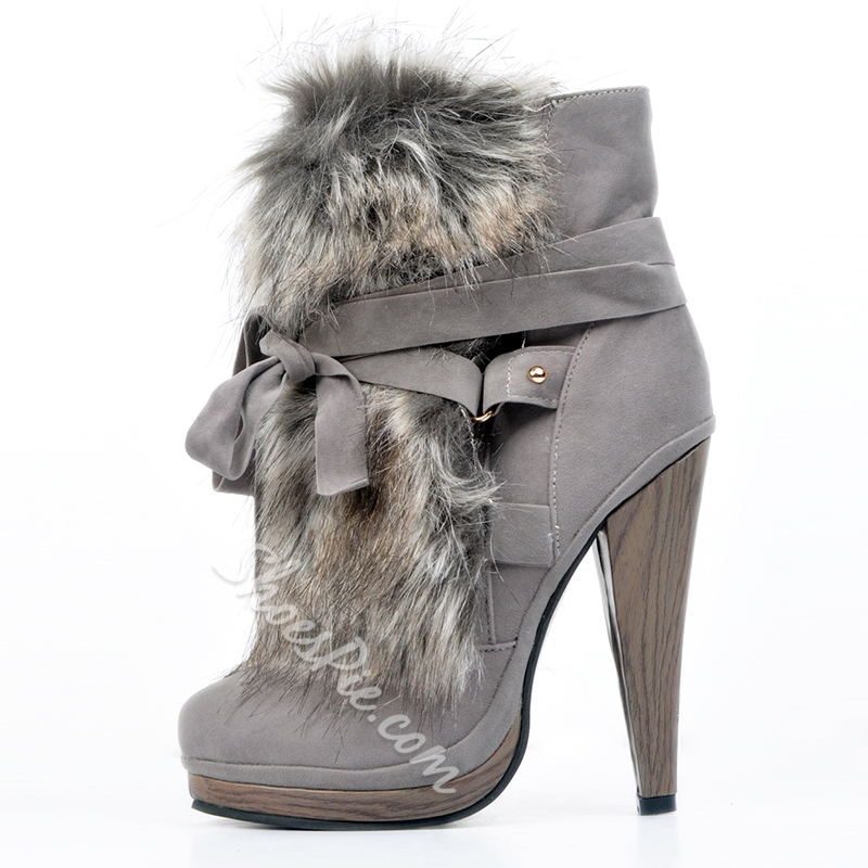 Shoespie Chic Gray Nubuck Leather Lace-Up High Heel Boot