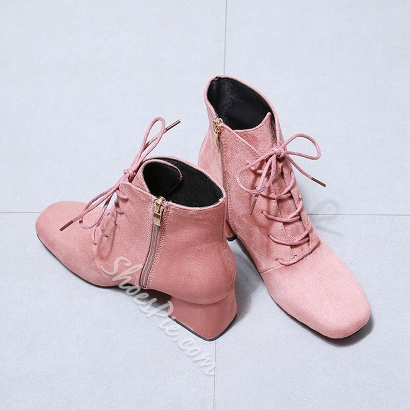 Shoespie Square Toe Cross Strap Lace-Up Front Chunky Heel Ankle Boot