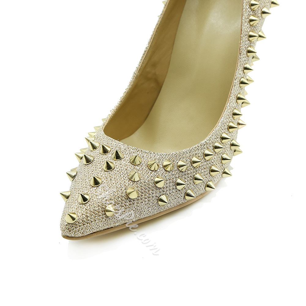 Shoespie Glitter Rivet Slip-On Pointed Toe Stiletto Heel