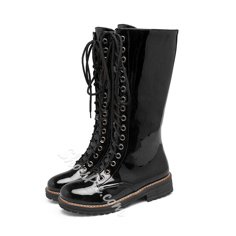 Shoespie Cross Strap Platform Side Zipper Block Heel Knee High Boot