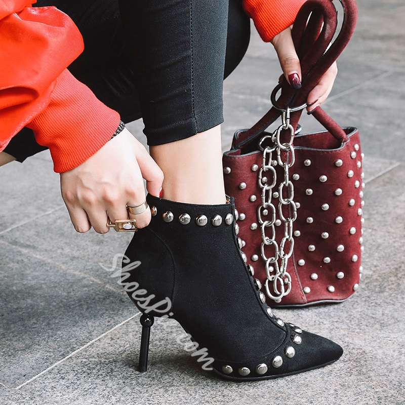 Shoespie Side Zipper Rivet Stiletto Heel Ankle Boot